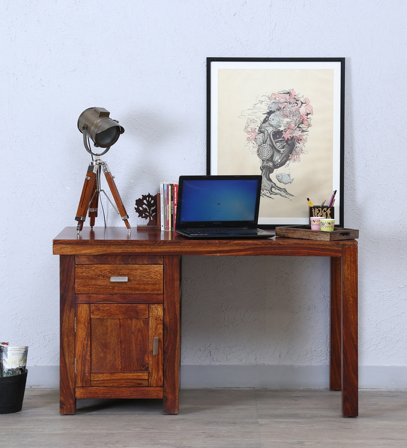 Oriel Study and Laptop Table in Honey oak Finish by Woodsworth