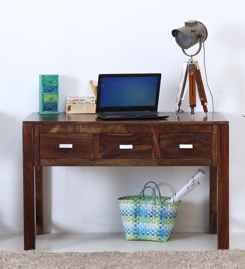 Oriel Three Drawer  Console Table in Provincial Teak Finish by Woodsworth