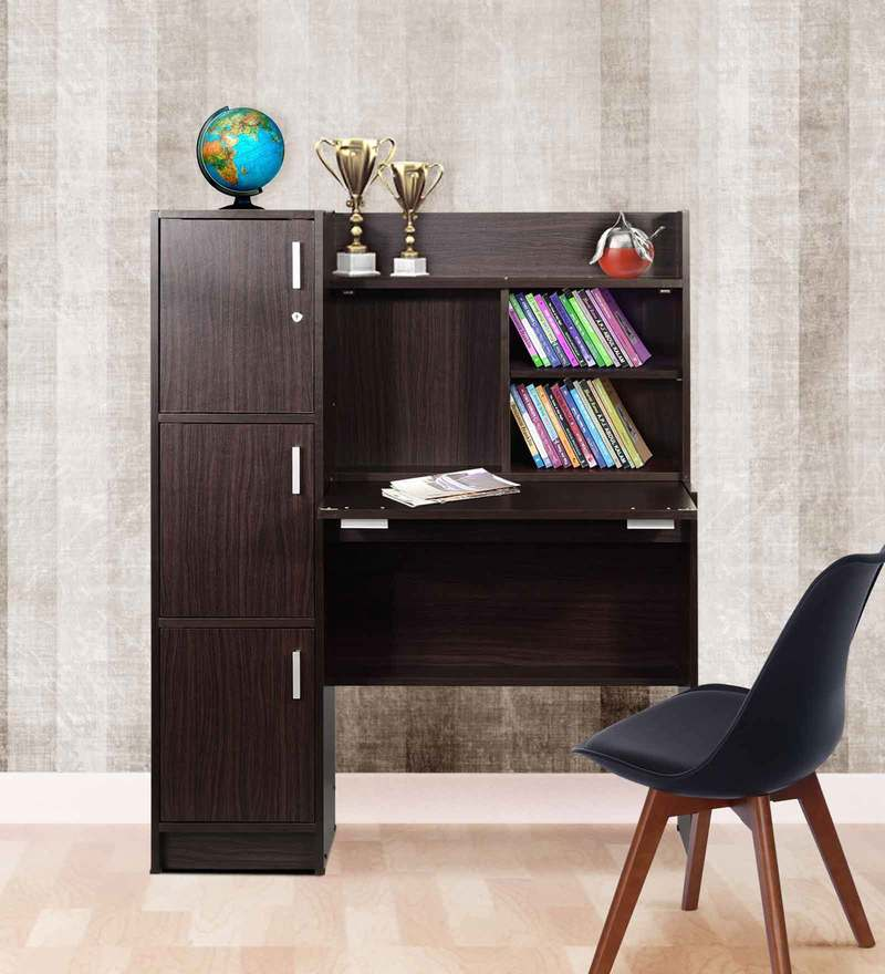 Omura Study Table with Cabinets in Wenge Finish by Mintwud
