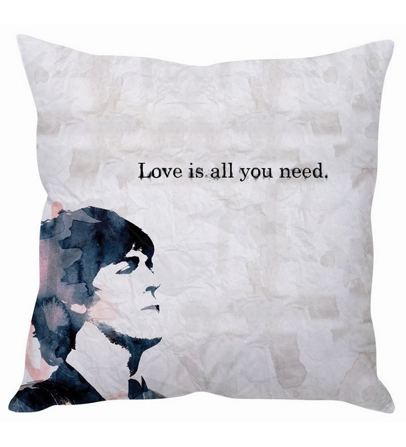 Black & White Silk 16 x 16 Inch Beatles Quote Taffeta Cushion Cover by Stybuzz