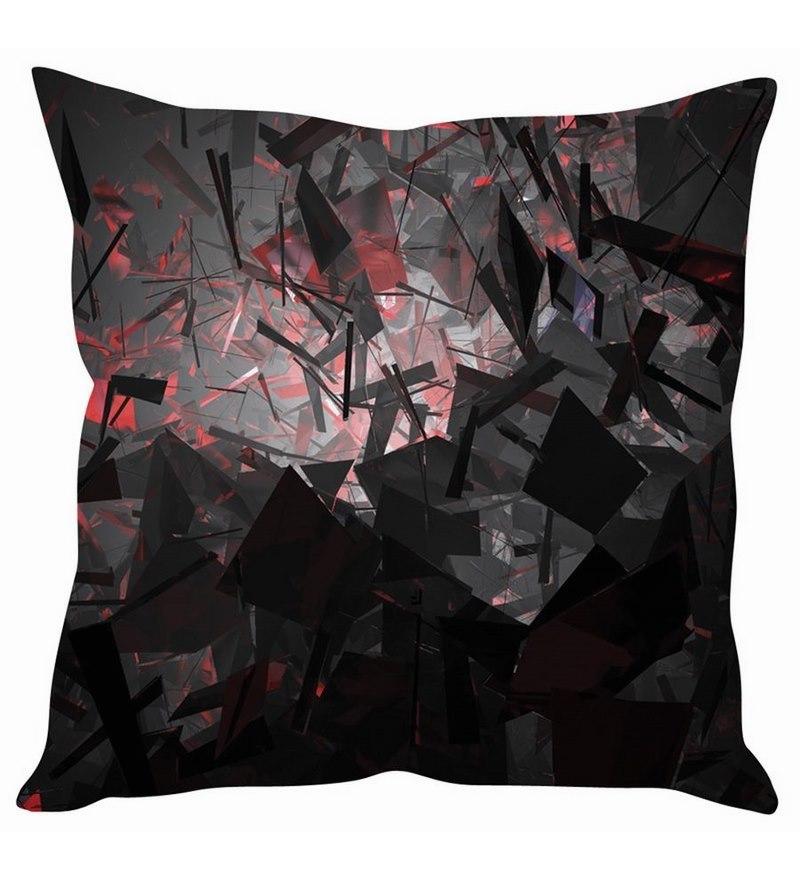 Black Silk 16 x 16 Inch 3D Mirror Cushion Cover by Stybuzz
