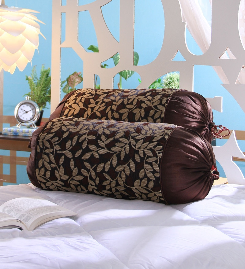 Brown Jute 16 x 30 Inch Bolster Covers - Set of 2 by Stybuzz
