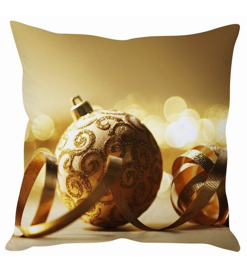 Brown Silk 16 x 16 Inch Glittering Christmas Ball Cushion Cover by Stybuzz