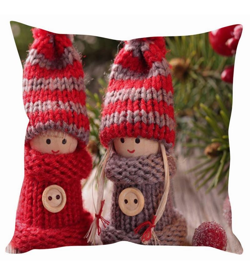 Cute Winter Dolls Christmas White Silk Cushion Cover by Stybuzz