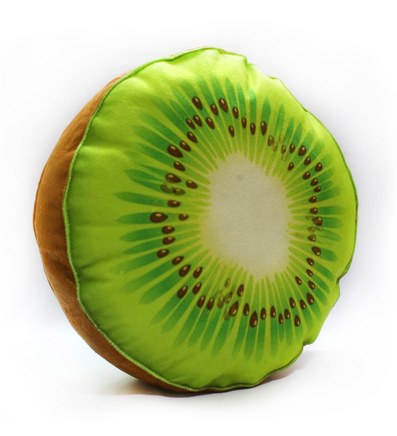 Green & Brown Velvet 16 x 16 Inch Kiwi Fruit Slice Cushion Cover with Insert by Stybuzz