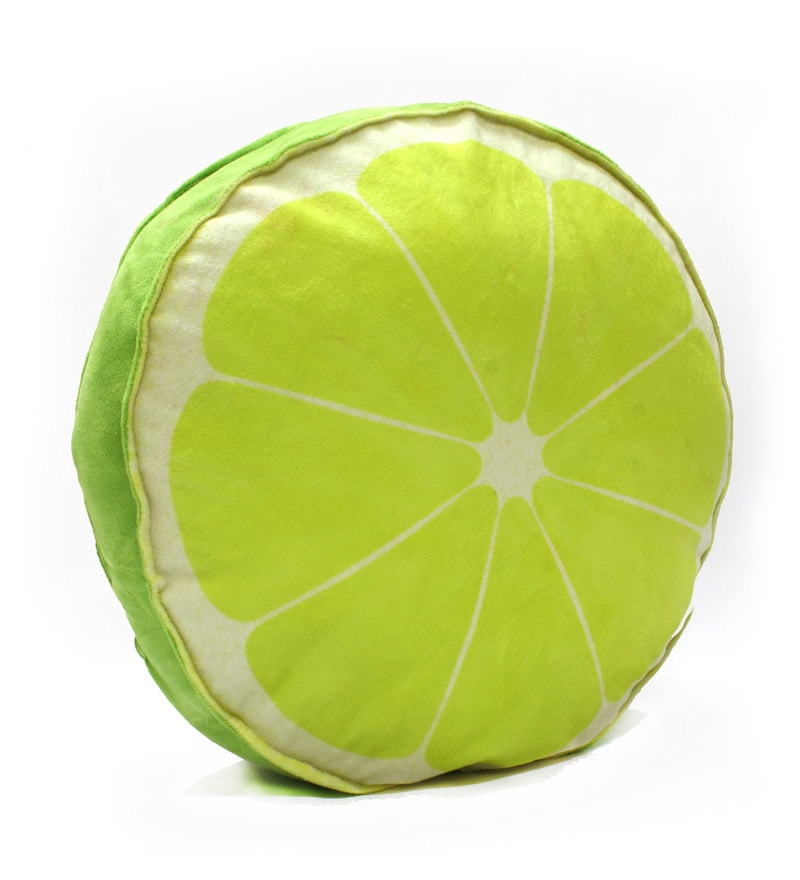 Green Velvet 16 x 16 Inch Lime Fruit Slice Cushion Cover with Insert by Stybuzz