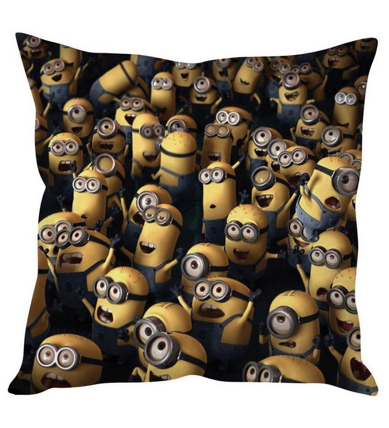 Minions Yellow Silk Cushion Cover by Stybuzz