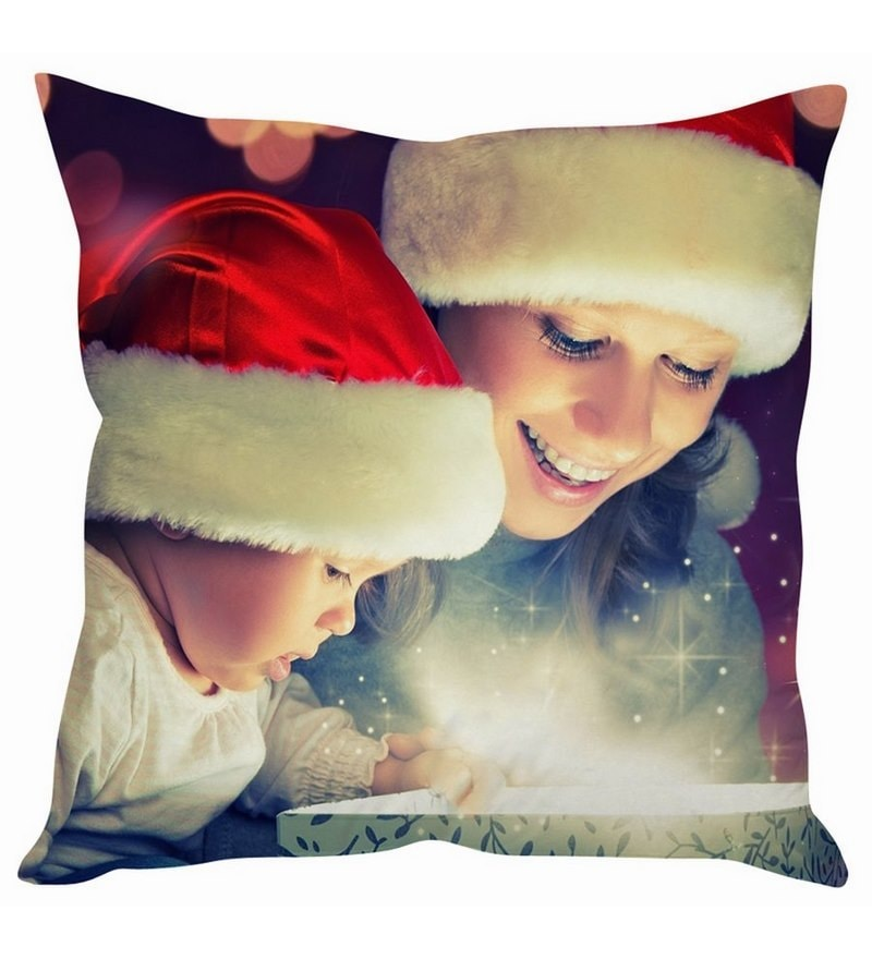 Mother & Baby Christmas Gift White Silk Cushion Cover by Stybuzz