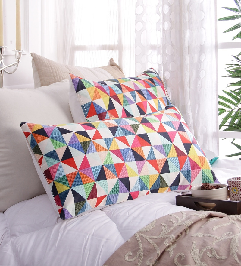 Multicolour Poly Silk 17 x 26 Pillow Cover - Set of 2 by Stybuzz