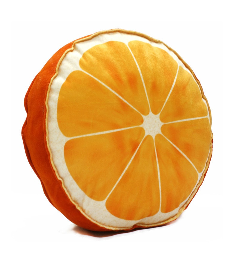 Orange Velvet 16 x 16 Inch Fruit Slice Cushion Cover with Insert by Stybuzz