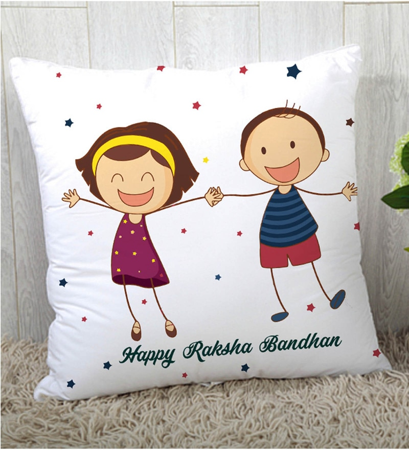 Stybuzz Polyester Multicolour 16 x 16 Inch Rakshbandhan Rakhi Gift Cushion Cover
