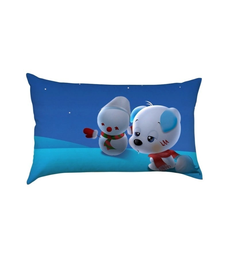 Puppy with Snowman Multicolour Poly Silk Baby Pillow by Stybuzz