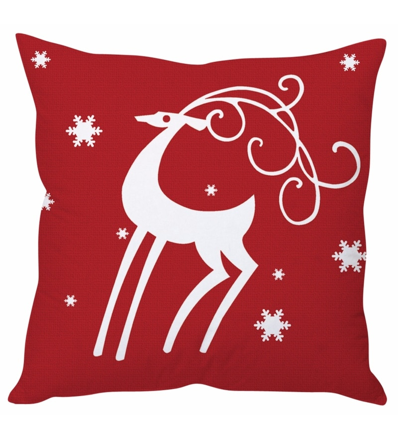 Red 100 % Polyester 16 x 16 Inch Christmas Cushion Cover by Stybuzz
