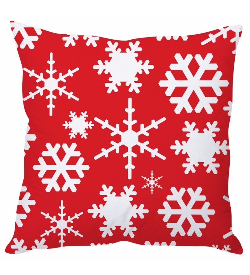 Red 100 % Polyester 16 x 16 Inch Red & White Christmas Cushion Cover by Stybuzz