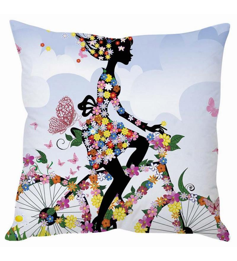 White Silk 16 x 16 Inch Lady on Bicycle Cushion Cover by Stybuzz