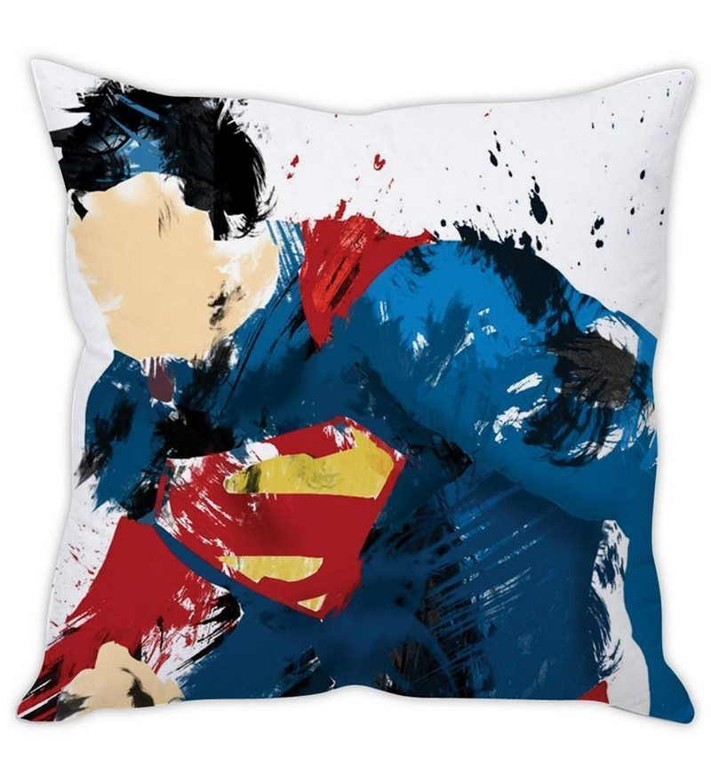 White Silk 16 x 16 Inch Superman Sketch Cushion Cover by Stybuzz