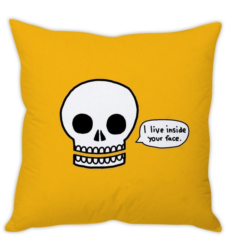 Yellow Silk 16 x 16 Inch Skull Funny Cushion Cover by Stybuzz