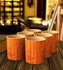 Stallion Barware Unbreakable Harbour Wood Finish Old Fashion 350 ML Whiskey Glass - Set of 6