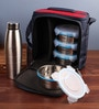 Steel Lock Airtight 4 pc Lunch Meal Tiffin Box with Steel Bottle & Insulated bag