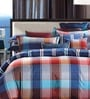 Chequered Multicolour Cotton Abstract Bed Sheet (with Pillow Covers) - Set of 3 by Stoa Paris