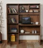 Study Table with Book Shelves & Cabinet in Knotty Wood Finish by Crystal Furnitech