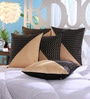 Beige Dupion Silk 16 x 16 Inch Cushion Covers - Set of 5 by Stybuzz