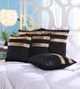 Stybuzz Black Dupion Silk 16 x 16 Inch Cushion Covers - Set of 5