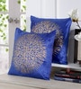 Deep Blue Velvet 16 x 16 Inch Gold Print Cushion Cover - Set of 5 by Stybuzz