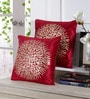 Maroon Velvet 16 x 16 Inch Gold Print Cushion Cover - Set of 5 by Stybuzz