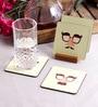 Stybuzz Moustache Faces Multicolour MDF Square Coasters - Set Of 4