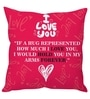 Stybuzz Pink Poly Silk 16 x 16 Inch I Love You Cushion Cover