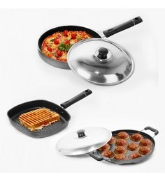 Sumeet Nonstick Joyous Combo Of Grill Pan + Grill Appam Patra & Pizza Pan - Set Of 3