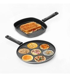 Sumeet Nonstick Two Star Combo Of Multi Snack Maker & Grill Pan - Set Of 2
