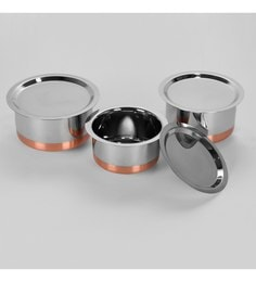 Sumeet Stainless Steel Copper Bottom Topes - Set Of 3 - 1639494