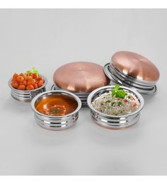 Sumeet Stainless Steel Copper Handis - Set Of 5