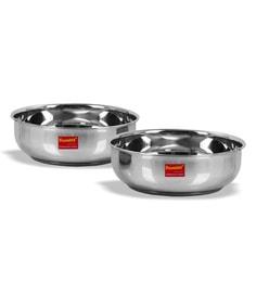 Sumeet Stainless Steel Induction Based Bottom & Gas Stove Friendly Tasra - Set Of 2 - 1668158