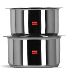 Sumeet Stainless Steel Induction Based Bottom & Gas Stove Friendly Tope With Lids - Set Of 2 - 1668162