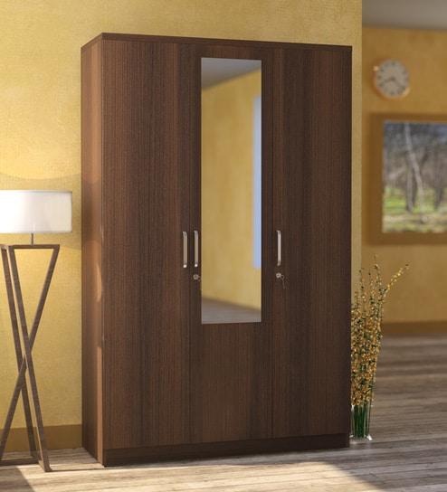 Subaru 3 Door Wardrobe With Mirror In Bronze Walnut Finish By Mintwud
