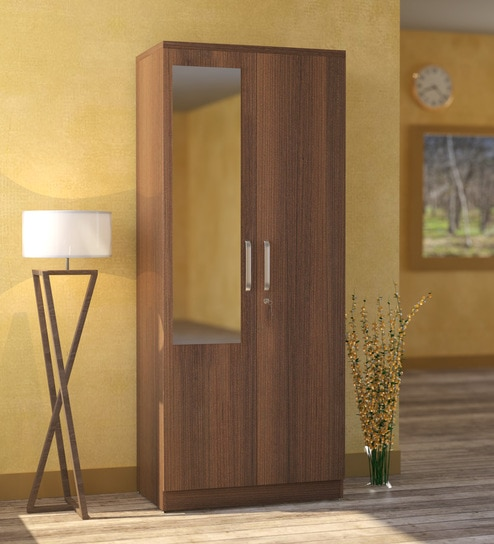 Buy Furniture Wardrobes Subaru Two Door Wardrobe with Mirror in Bronze Walnut Finish by Mintwud