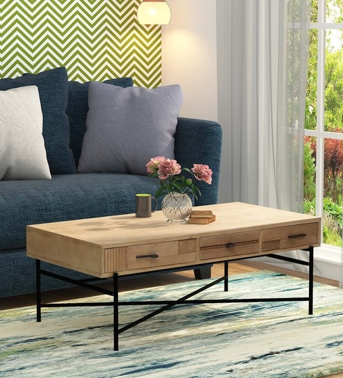 Buy Sumedh Solid Wood Coffee Table In Natural Finish By Bohemiana