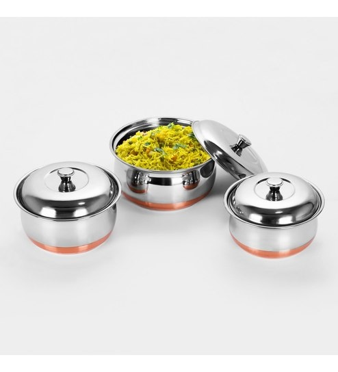 Sumeet Stainless Steel Copper Bottom Multipurpose Cook & Serve Handis With Lid - Set Of 3