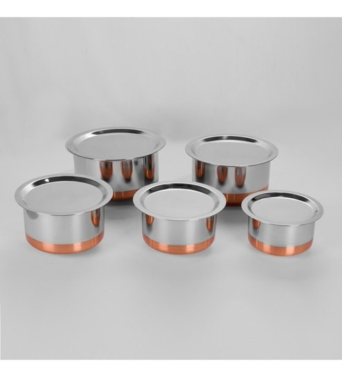 Sumeet Stainless Steel Copper Bottom Topes - Set Of 5
