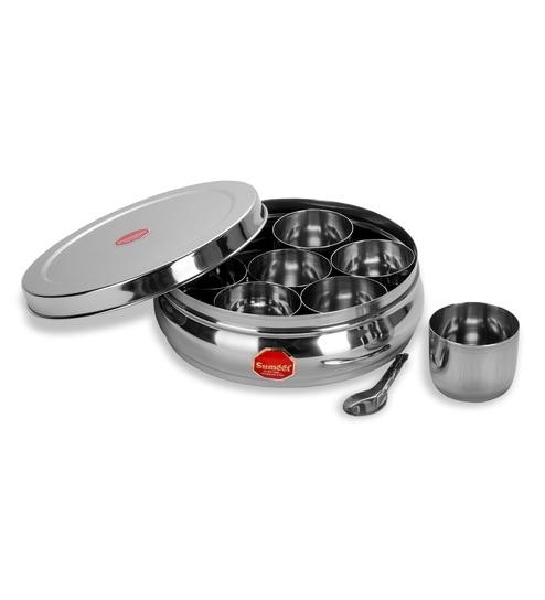 Buy Sumeet Stainless Steel Silver 1100 Ml Masala Box Set Of 9