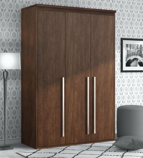 Sumire 3 Door Wardrobe In Brown Finish
