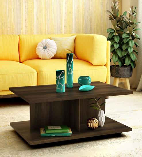 Supein Coffee Table in Dark Brown Finish by Mintwud