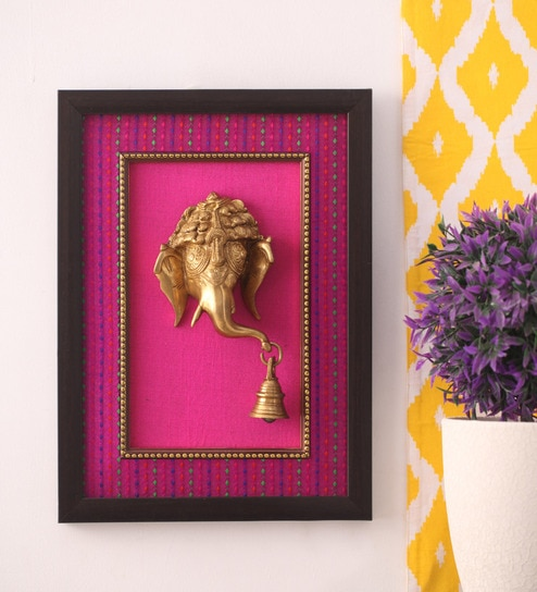 Buy Copper Tone Brass Ganesha Mask Framed Wall Accent by Suriti ...