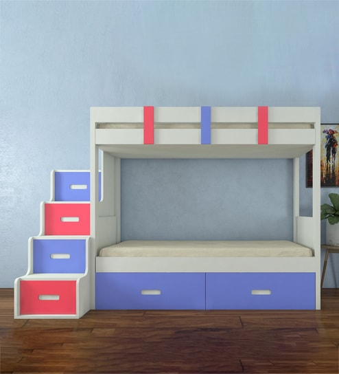 Buy Suvina Twin Bunkbed With Storage Steps And Drawers In Persian Lilac Strawberry Pink Colour By Adona Online Trundle Bunk Beds Bunk Beds Kids Furniture Pepperfry Product