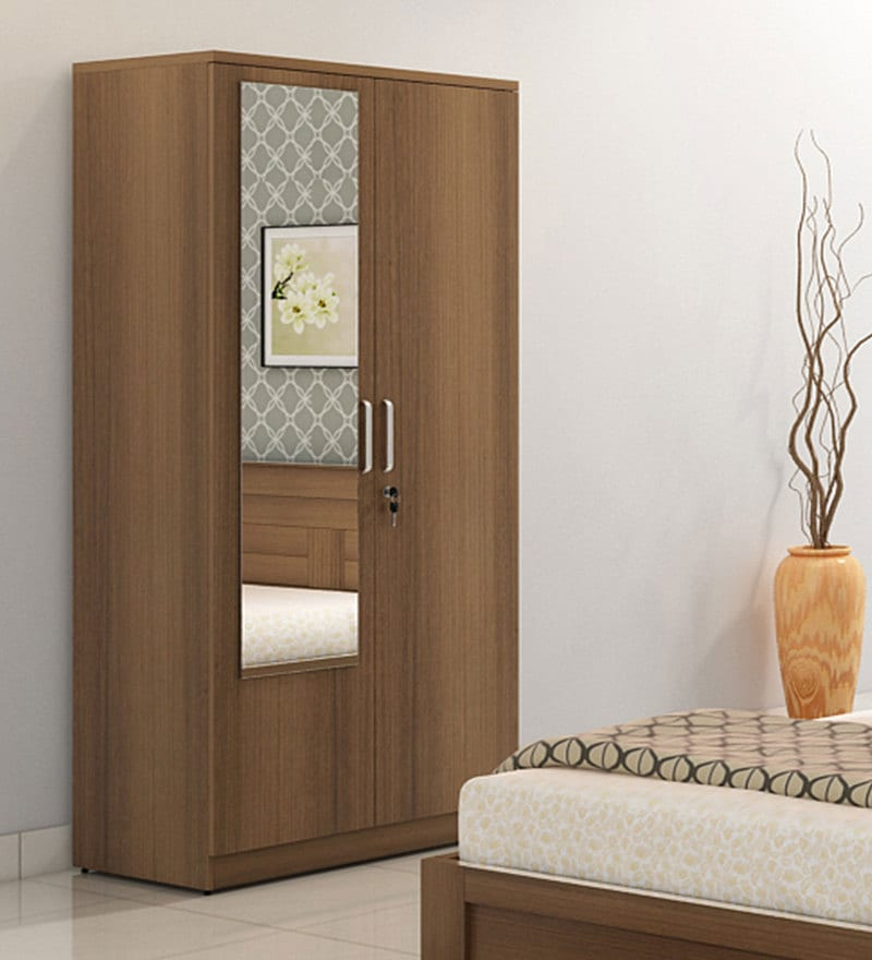 Subaru Two Door Wardrobe with Mirror in Bronze Walnut Finish by Mintwud