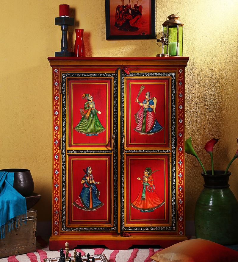 Nivesa Hand Painted Cabinet By, Hand Painted Cabinet Indian