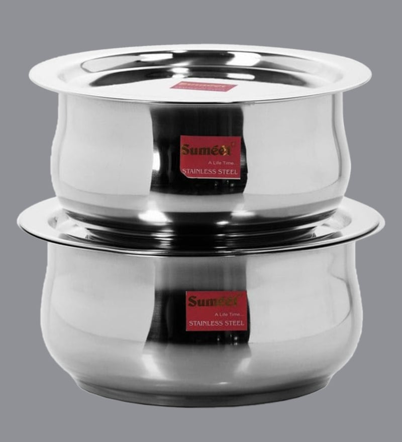 Sumeet Stainless Steel Non-Stick Patila(1100 ML & 1600 ML)-Set of 2